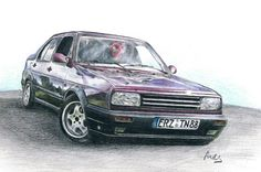 Volkswagen VW Jetta, drawing with colour pencils by Sindy's Kunstfabrik