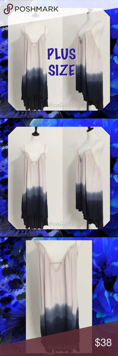 Plus Size Navy Tye Dye Ombre Sexy Dress Coverup Item Description New Plus Size Ombre Low Cut Sexy Dress Tunic Coverup  Features: Ombre Style; Low deep cut front and back  Color: Blue Ombre  Material: 100% Rayon  Made in USA  Size: XL, 2X, 3X  Fits true to size  Such a versatile piece. Can be worn as a dress, oversized tunic, or even a bathing suit coverup April Spirit Dresses