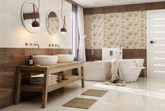 salle de bain avec carrelage beige, imitation bois et à motifs floraux