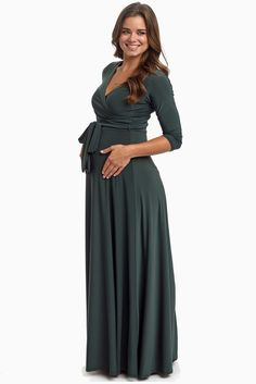 Olive-Green-Draped-3/4-Sleeve-Maternity-Maxi-Dress