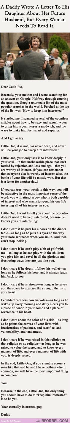 "It really annoys me that he refers to her as ""little one"" so many times, once would've gotten the point across. Otherwise, it's good words for all the insecure little girls out there (and the bigger insecure girls too)"