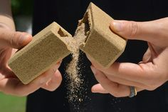 Sustainable sand packaging by alien & monkey enriches the joy of discovering a gift by crumbling away into the environment.  http://www.archipanic.com/sand-made-packaging/