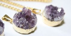 Hey, I found this really awesome Etsy listing at https://www.etsy.com/listing/252787777/mini-amethyst-druzy-gold-necklace-druzy