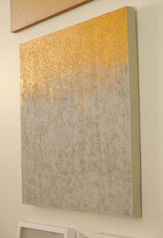 Abstract painting, neutral colors and metallic gold paint on canvas, 24x24 inches, Jupiters Mirror