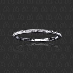 Wedding band with antique square french cut diamonds set upside down
