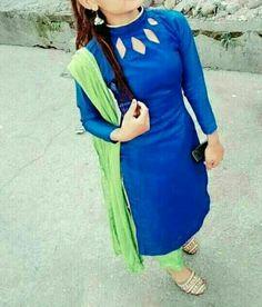 Beautyful n simple Salwar Suit Neck Designs, Neck Designs For Suits, Churidar Designs, Kurta Neck Design, Sleeves Designs For Dresses, Neckline Designs, Sari Blouse Designs, Kurta Designs Women, Blouse Neck Designs
