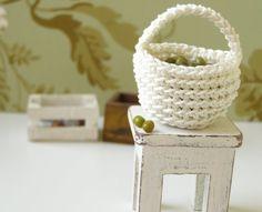 Dollhouse miniature basket crochet basket  1 12 by DewdropMinis