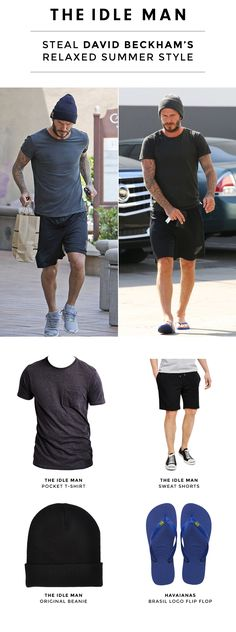 Wanna look as stylish as David Beckham when heading to the gym? Wear The Idle Man grey t-shirt with a pair of black sweat shorts, throw on a beanie and add some Havaianas flip flops. Shop the look for under £50: http://theidleman.com/inspiration/pinterest-grid-3.html