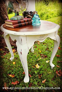 Annie Sloan on bottom; stained on top ... pretty combination by My Passion For Decor