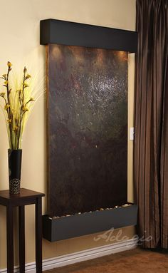 Blackened Copper Fame w/ Rajah Featherstone Round Edges water fountains waterfall Adagio Summit Falls Wall Fountain House Design, Interior Design Projects, Interior, Indoor Wall Fountains, Home, Wall, Wall Fountain, Indoor, Water Walls