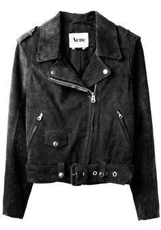A perfect leather jacket Acne black suede biker jacket #style #inspiration #fashion