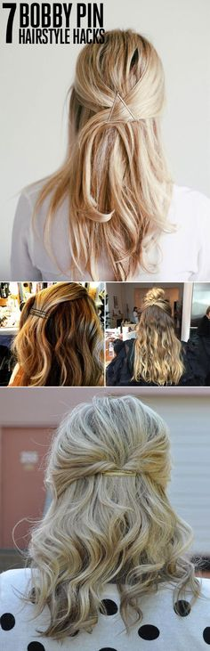 7 Amazing Summer Hairstyles, All You Need Is This - 7 Bobby Pin Hairstyles Whether you're straight from the gym, nursing a second-day blowout, or lo - Second Day Hairstyles, Hairstyles For School, Trendy Hairstyles, Hairstyles For Nurses, Office Hairstyles, Easy Summer Hairstyles, Amazing Hairstyles, Bobby Pin Hairstyles, My Hairstyle