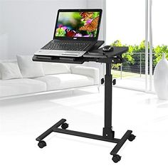Popamazing Folding Adjustable Computer Notebook Laptop Table Tray Desk With  Mouse Board PC Stand (black