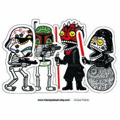 Dark Side Calaveras Vinyl Sticker 4-Pack. $5.00, via Etsy.
