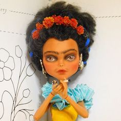 Frida Kahlo Doll mexican style collectors doll by CatEncioDolls