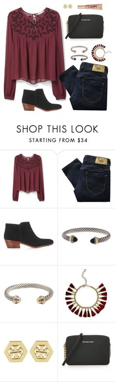 """Untitled #305"" by jlmurray411 ❤ liked on Polyvore featuring MANGO, Diesel, Sam Edelman, David Yurman, BaubleBar, Tory Burch, MICHAEL Michael Kors, Too Faced Cosmetics, women's clothing and women"