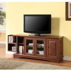52 in. Brown Wood TV Stand | Overstock.com Shopping - The Best Deals on Entertainment Centers