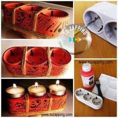 How is this decorative candle holder from the impaired sockets 14 Clever Recycling Diy Ideas How To Make Letters, Candle Jars, Candles, Candle Holder Decor, Diy Pillows, Clever, Recycling, Basket, Diy Projects