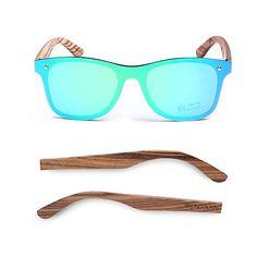 7476e288f9 Bruno Dunn Vintage Wayfarer Style polarized mirror green lense stylish wood  frame sunglasses for men women