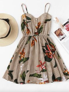 Shop Striped Floral Print Shirred Back Cami Dress online. ROMWE offers Striped Floral Print Shirred Back Cami Dress & more to fit your fashionable needs. Mode Outfits, Casual Outfits, Fashion Outfits, Travel Outfits, Fashion Styles, Europe Outfits, Disney Outfits, Short Outfits, Dress Fashion
