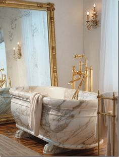 That is a solid Carrara Marble bathtub. I could not imagine walking into a bathroom & seeing that. Dream Bathrooms, Beautiful Bathrooms, Luxury Bathrooms, Marble Bathtub, Home Living, Bathroom Inspiration, Home Fashion, Master Bathroom, Bathroom Bath