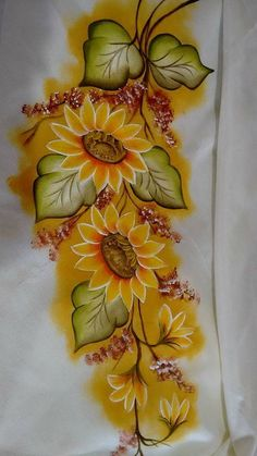 Saree Painting Designs, Fabric Paint Designs, Painting Patterns, Bed Sheet Painting Design, Fabric Painting On Clothes, Hand Painted Dress, Tole Painting, Floral Illustrations, Flower Art