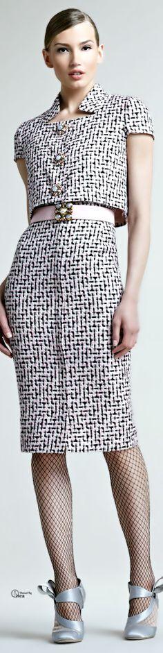 Oscar De La Renta ● Tweed Trompeloeil Dress
