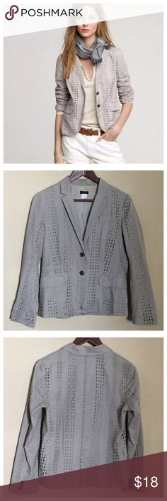 J. Crew Eyelet Blazer Jacket Khaki Grey Size 6 J. Crew Eyelet Blazer Jacket Khaki Grey  • Size 6 • Two button front closure • 100% cotton • Khaki tan color with a hint of grey • Buttons are brown with a green swirl • 19.5 inch bust, when lying flat • 24 inch length from base of collar down the back • 23.5 sleeve length (shoulder seam to bottom hem)  • Good preloved condition, gently worn J. Crew Jackets & Coats Blazers