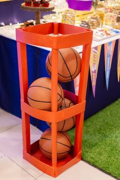 Basketball Podium Shelf from an NBA Basketball Birthday Party on Kara's Party Id. Basketball Birthday Parties, 10th Birthday Parties, Themed Birthday Cakes, 1st Birthday Girls, Birthday Party Themes, Birthday Ideas, Donut Party, Farm Party, Valentines Day Party