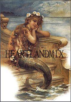 Vintage Image Little Mermaid Hans Andersen Fairy Tale Mermaid Poster, Mermaid Art, Mermaid Style, Mermaid Paintings, Mermaid Barbie, Vintage Images, Vintage Posters, Vintage Art, Andersen's Fairy Tales