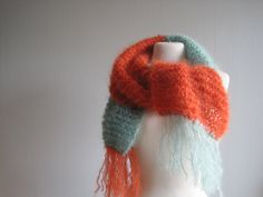 Scarf Knit Knitted Scarf Fringe Scarf Mohair Scarf by woolpleasure Mint Scarf, Hand Knit Scarf, Fringe Scarf, Color Blocking, Hand Knitting, Hygge, Handmade Gifts, Norway, Knits