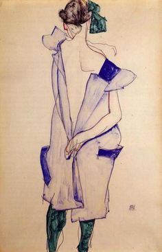 Standing Girl in a Blue Dress and Green Stockings Back View, Egon Schiele.