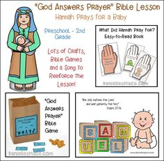 God Answers Prayers Bible Lesson about Hannah Praying for a Baby - Digital Download including Bible Crafts, Bible Games and A Song for Preschool through Second Grade