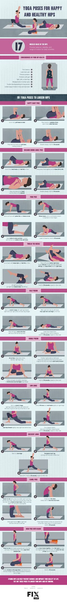 Yoga Poses for Happy and Healthy Hips #infographic                                                                                                                                                                                 More