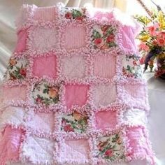 Patchwork Quilt for a baby girl in candlewick / chenille - Sweet Pink Roses Quilt and Pillow Set at Quilts Just 4 Kids So, so pretty! The Ultimate rag Quilt, w seams, chenille + 3 layers of flannel to recycle that old chenille bathrobe in the basket of ol Baby Rag Quilts, Girls Rag Quilt, Girls Quilts, Flannel Rag Quilts, Quilting Projects, Sewing Projects, Rag Quilt Patterns, Block Patterns, Patchwork Quilt
