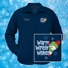 """Stay warm this winter in cozy """"Warm Winter Wishes"""" fleece jackets from WorkPlacePro! Personalize your jackets with your group or bushiness for free name! Get yours at www.workplacepro.com"""