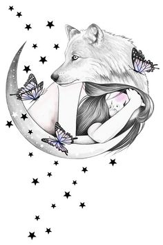 Over The Moon Art Print by andreahrnjak Pencil Art Drawings, Art Drawings Sketches, Animal Drawings, Cute Drawings, Artwork Lobo, Wolf Artwork, Wolf Love, Wolf Tattoos, Wolf Sketch