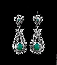 Купить Серьги в серебряной филиграни (модель СФ120) -  серебряный, филигрань серебро, украшения ручной работы