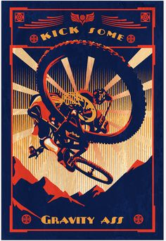 retro motivational slogan mountain bike poster print 11X16