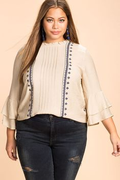 Tiered Sleeve Embroidered Blouse