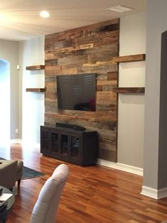 Relatively Bathroom: Trevor S Reclaimed Barn Wood Accent Wall Shelving Fama - Home: Living color Feature Wall Living Room, Accent Walls In Living Room, Accent Wall Bedroom, Living Room With Fireplace, Living Rooms, Wooden Accent Wall, Wall Wood, Reclaimed Wood Accent Wall, Barn Wood Walls