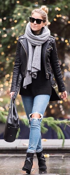 #winter #fashion / Grey Scarf / Black Jacket / Black Knit / Destroyed Denim / Black Booties / Black Leather Tote Bag