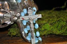 Fabulous  Glass Rosary Religious necklace by SouthernSisAntiques