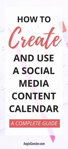Learn how to create and use a social media content calendar and finally master social media for your business. #socialmedia #socialmediatips via @angiegensler