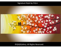 """When the Sun Rises 36"""" Abstract Contemporary Landscape Painting Original Modern Heavy Texture Impasto Palette Knife Love Birds Tree Branches Flower Wall Décor """"When the Sun Rises"""" by QIQIGALLERY, $185.00"""