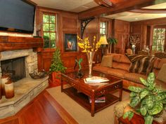 What makes a room warmer than a fireplace and wood paneling? Nothing!