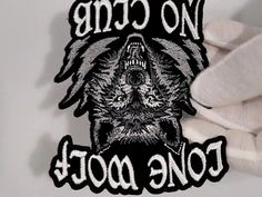 Lone Wolf No Club Small Biker Patch Dystopia Rising, Biker Wear, Biker Patches, Motorcycle Clubs, Lone Wolf, Lonely, Black And White, Marisa Miller, Pitbull