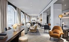 """11 Howard Hotel describes its raison d'etre as """"conscious hospitality."""" Here youcan find Interior Design Tips From Soho New York's 11 Howard Hotel Lounge Design, Design Entrée, Lobby Design, Design Hotel, Spa Hotel, Hotel Lounge, Lobby Lounge, Hotel Decor, 11 Howard Hotel"""