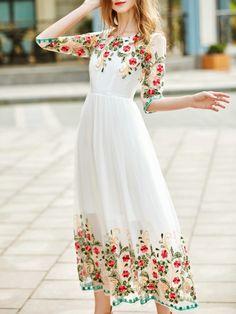 Vestido bordado de flores con tul-blanco-Spanish SheIn(Sheinside)