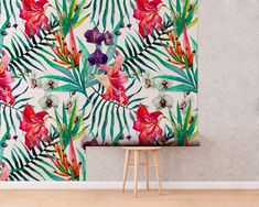 Upgrade your walls with this elegant Orchids Wall Art Mural adding an exclusive touch to your personal style and surprise your family and friends. Leaves Wallpaper, New Wallpaper, Fabric Wallpaper, Nursery Fabric, Temporary Wallpaper, Ikea Malm, Mural Wall Art, Watercolor Leaves, Self Adhesive Wallpaper
